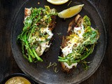 Flowering Broccoli Rabe with Bagna Cauda and Burrata