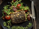 Pan-Sautéed Fish with Arugula-Pistachio Pesto and a Wilted Arugula and Chorizo Salad