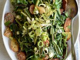 Warm Dandelion Bacon Leek Potato Salad