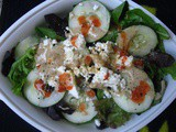 Simple Lunch: Salad with Goat Cheese, Cukes, and Tahini