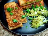 Broccoli, spring onions, corn grilled cheese sandwiches