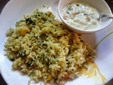 Methi pulao (Pilaf using fresh fenugreek leaves and spices)