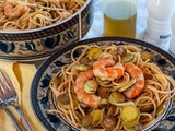 Shrimp Zucchini Pasta With Red Onion