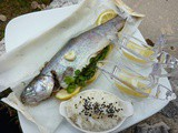 Trout Parcel with Lemon and Parsley Served with Basmati Rice