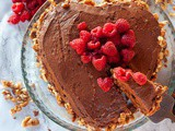 Walnut Dark Chocolate Sponge Cake with Raspberry