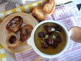 'Whatever-Vegetables' soup with spicy merguez sausages