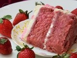 Strawberry Cake With Buttercream Frosting | Simple Strawberry Birthday Cake | Strawberry Cake Using Fresh Strawberries
