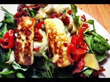 Sausage and halloumi salad