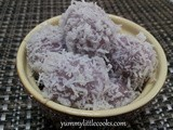 Purple Sweet Potatoes Ondeh-Ondeh / Buah Melaka ( Glutinous Rice Ball With Palm Sugar )