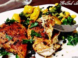 Grilled chicken on a bed of veggies( Tawa method Indian style)