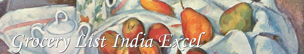 very good recipes of grocery list india excel
